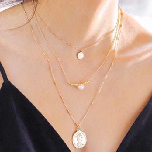 Women's Multi-Layer Necklace Fashion Simple Imitation Pearl Elegant Pearls Pastoral Fine Figure Accessory