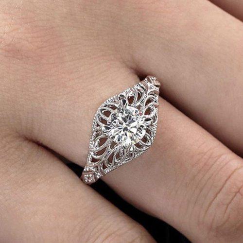 Women's Fashion Ring Zircon Delicate Floral Design Vintage Geometric Carving Accessories Infinite Charming Jewelry