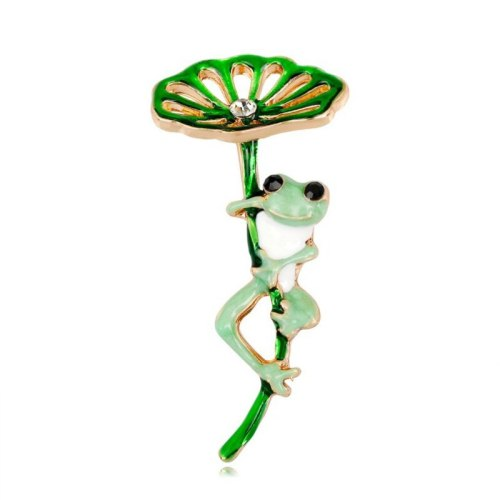 Women's Pin Creative Cute Lotus Leaf Frog Rhinestone Vintage Animal Print
