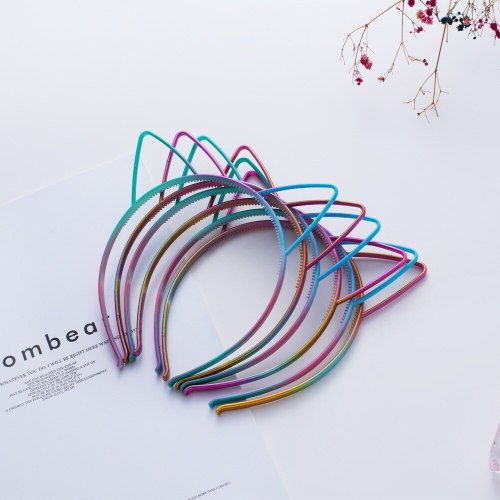 6 Pcs Women's Hairband Set Cute Cat Ear Design Gradient Color Hair Accessories Fashion