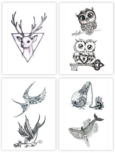 4 Pcs Women's Tattoo Stickers Animal Pattern Fashion Temporary Tattoo Waterproof Print Other