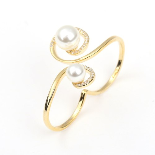 DE NOVO Women's Ring Zircon Ladylike Design Ring Accessory OL Fashion Solid Color Metal Decoration