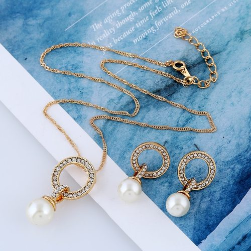 Women's 2 Pcs Necklace & Earring Set Imitation Pearl All-Match Elegant Accessories Top Fashion Catenary/Necklace Polka Dot Rhinestone