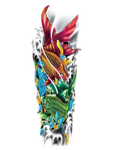 Men's Tattoo Sticker Fish Pattern Simulation Full Arm Tattoo Accessory