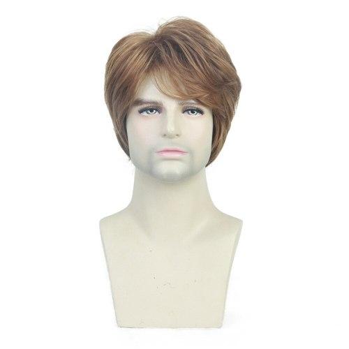 Men's Wig Fashion Short Curly Hair Tilted Frisette Design Wig Hand wash Costume