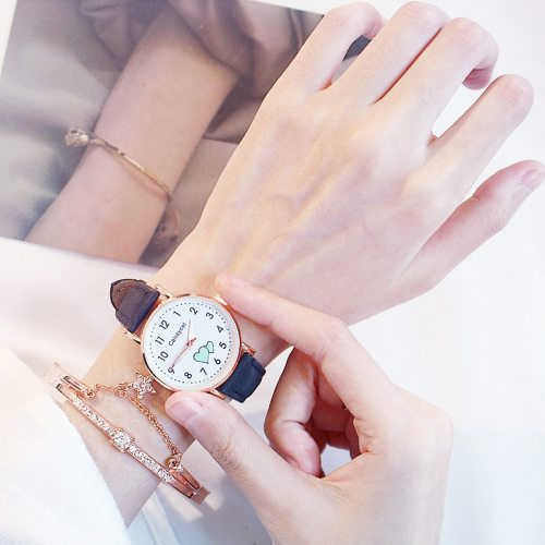 2 Pieces Women's Fashion Watch Set Star Bracelet Luminous Elegant Watch Round Wipe clean Pointer Women's Watches Contrast Color Sporty Watches Candy