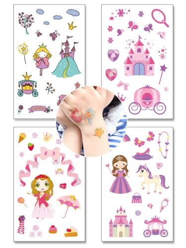 4 Pcs Women's Tattoo Stickers Cartoon Waterproof Non-Toxic Temporary Tattoo Print Easy Attaching Other