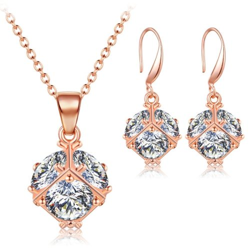 3Pcs Women's Necklace & Earring Set Zircon Elegant Ladylike Jewelry Set Casual Fashion Accessories Geometric Ribbons