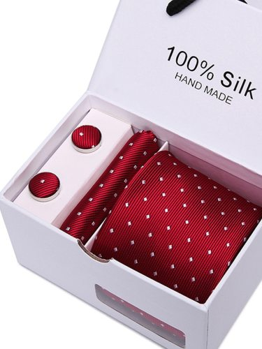 4Pcs Men's Gifts Business s Tie Round Shape With Kerchief 4-6Pcs Cufflinks Polka Dot and cufflinksTie size :146x75x35cmSquare size: 25x25cmCufflinks