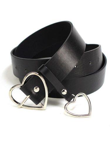 Women's Jeans Belt Heart Shape Pendant Stylish All Match Geometric Accessories Fashion Buckle Women's Belts One-loop