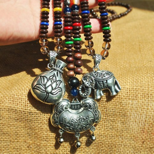 Women's Sweater Chain Beads Ethnic Vintage Pendant Necklace Celebrity Fine Metal Decoration Animal Catenary/Necklace Soufeel