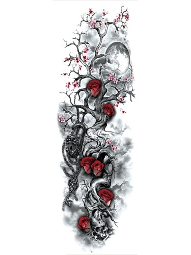 Men's Tattoo Sticker Fashion Cool Stylish Floral Lock Pattern Artificial Accessories