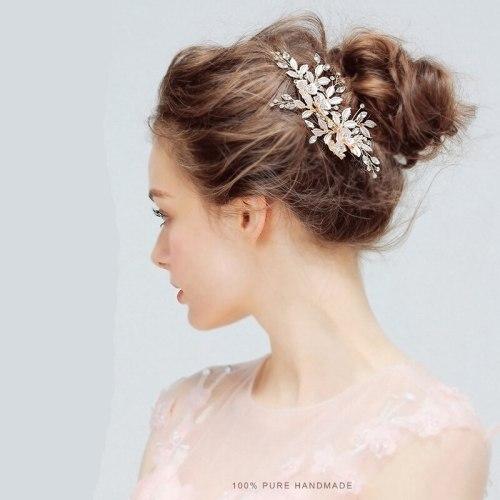 1Pc Women's Hair Clip Flower Pattern Exquisite Chic Wedding Hair Fine Hair Accessories Wipe clean