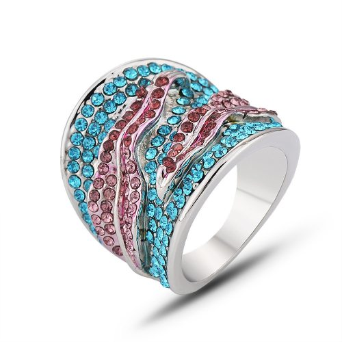 Women's Ring Delicate Ladylike Casual Rhinestone Infinite Charming Jewelry Accessory Gradient Color Fashion
