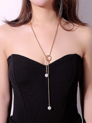 Women's Fashion Necklace Brief Design Bead Pendant Trendy Adjustable Basic Casual Geometric Accessories Pearls
