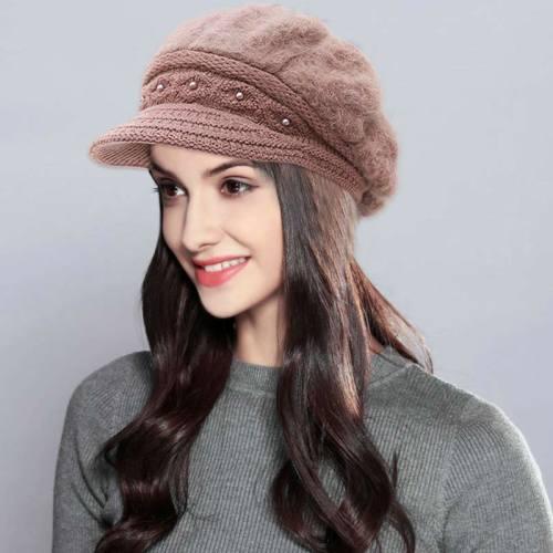 Women's Beret Warm Solid Color Stylish Hat Winter Geometric Tassel Accessories OL Wipe clean