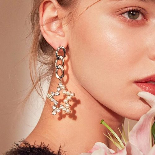 Women's Drop Earrings Elegant Metal Decoration Star Shaped Top Fashion Others Sun/Moon/Star Geometric Alloy Inlaid with Artificial Gem/Semiprecious