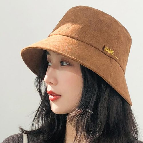 Women's Bucket Hat Solid Color Fashionable Letter Cartoon Winter Accessories Bucket Hats Hand wash Embroidery
