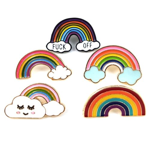 Women's Pin Cloud Smile Face Rainbow Sexy Letter Metal Decoration
