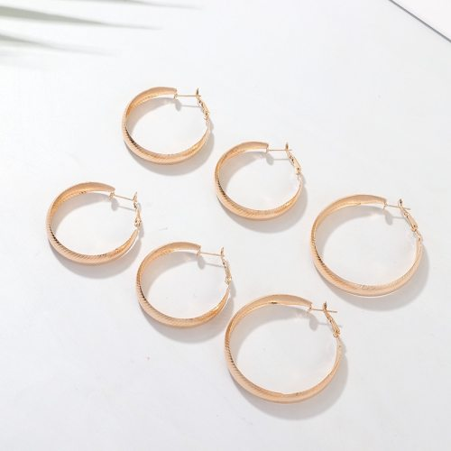3 Pairs Women's Earrings Set Classic Pattern Hoop Earrings Accessories Metal Decoration Top Fashion Geometric No Inlay Allergy Free