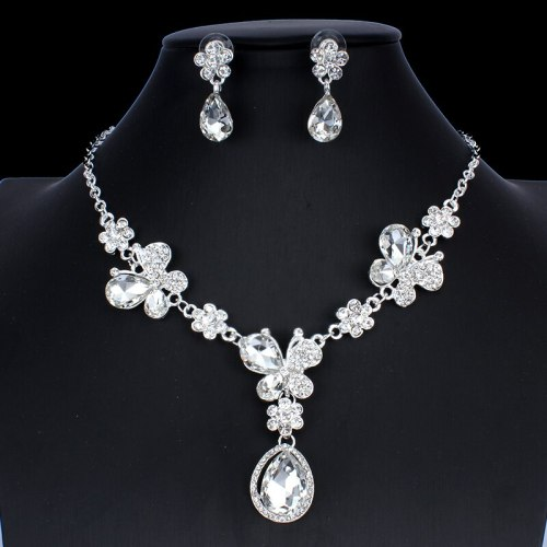 3Pcs Women's Necklace & Earring Set Exquisite Ladylike Jewelry Set Accessories Vintage