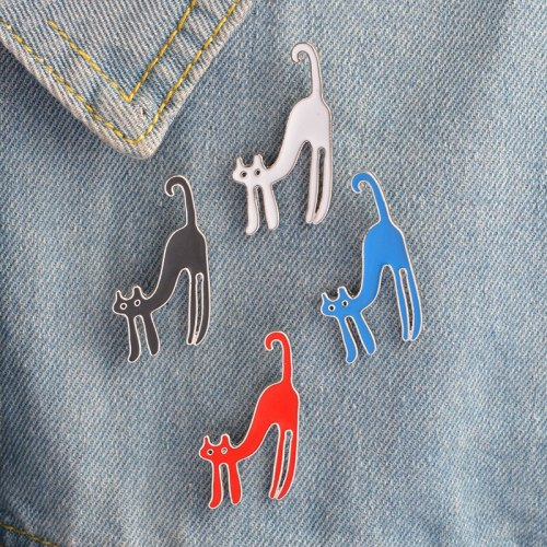 3 Pieces Women's Pins Cartoon Cute Cat Enamel Animal Print Vintage Carving
