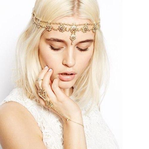 Women's Hair Chain Pearl Decor Flower Pattern Headband Hair Fine Hair Accessories