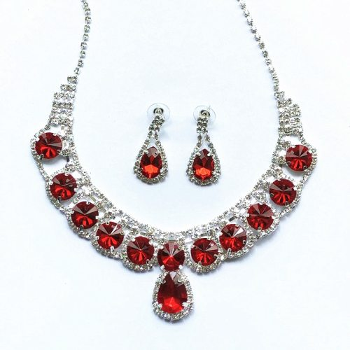 Lucky Doll 3 Pcs Women's Necklace & Earrings Ladylike Delicate Rhinestone Accessories Solid Color Sweet Fashion