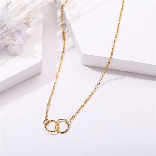 Women's Fashion Necklace Simple Creative Linked Rings Catenary/Necklace Metal Decoration Punk Vintage Geometric