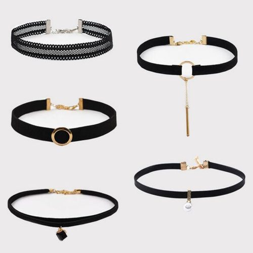 Lucky Doll 5 Pcs Women's Choker Set Retro Solid Color Simple Design All Match Accessories Vintage