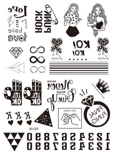 2 Pcs Women's Tattoo Sticker Set Personality High Quality Stylish Geometric Longlasting Sweet
