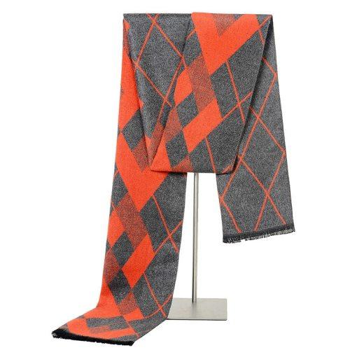 SAN VITALE Men's Scarf Color Block Business Top Fashion Hand wash Scarves Geometric Tassel Winter Scarves Accessory