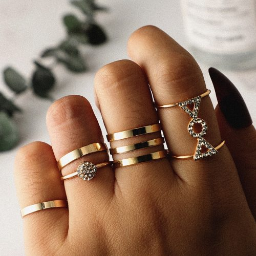 5 Pieces Women's Ring Set Rhinestone Bow Ball Elegant Top Fashion Accessory Letter Solid Color