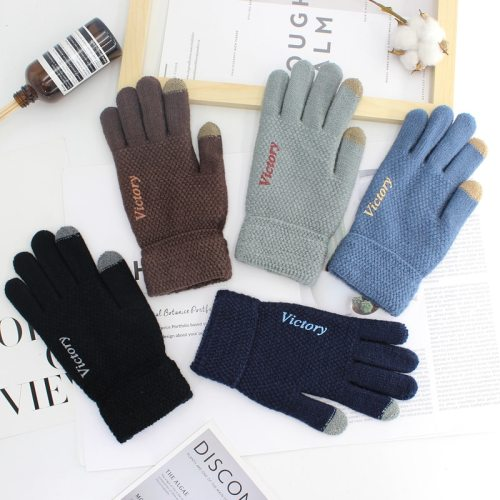 1 Pair Men's Warm Gloves Solid Color Embroidery Screen Touch Outdoor Letter Size: Length: 21cm Width: 115cmWeight: 0058kgPacking: OPP BagNote: 1-2cm