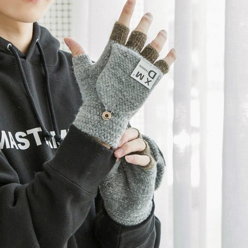 1 Pair Men's Warm Gloves Half Finger Colorblock Embroidery Cover Outdoor Dual Purpose Fashion Size: Length: 155cm Width: 11cmWeight: 0065kgPacking: