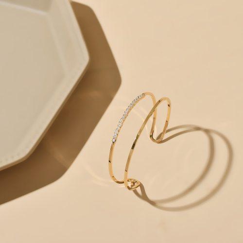DE NOVO Women's Bangle Fashion Zircon Bracelet Hollow out Catenary/Necklace Sweet Basic