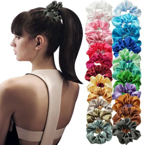 20 Pieces Women's Hair Elastics All Match Sweet Hair Fashion Flowers Hair Accessories Solid Color Top Fashion