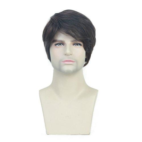 Men's Wig Short Curly Hair Tilted Frisette Design Wig Straight Basic Hand wash