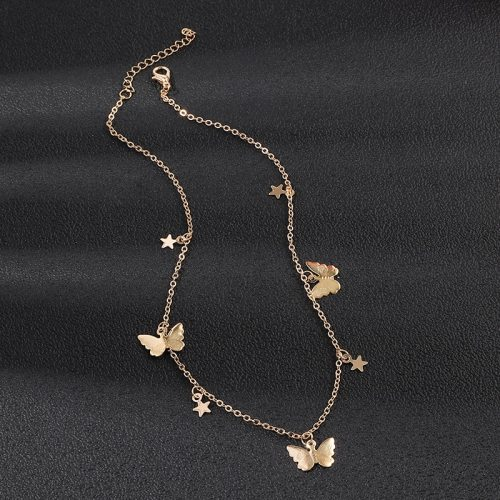 Women's Fashion Necklace Fashion Butterfly Star Decor Elegant Vintage Solid Color Accessories Metal Decoration OL