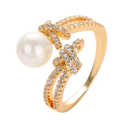 Women's Ring Zircon Imitation Pearl Ladylike Ring Fashion Accessories