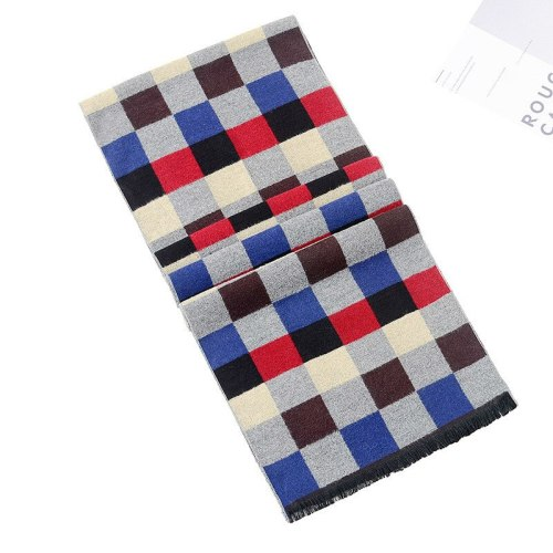 SAN VITALE Men's Scarf Checkered Color Block Comfy Warm Geometric Scarves Winter Scarves Top Fashion Tassel Accessory Hand wash