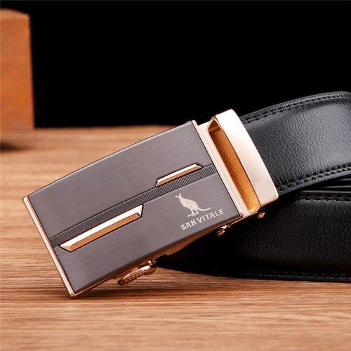 SAN VITALE Men's Belt Automatic Buckle Business Fashion Solid Color Men's Belts Accessory Metal Decoration