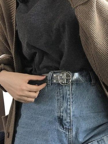 Women's Jeans Belt Visible Stylish Metal Accessories Multi-loop Women's Belts Solid Buckle Fashion