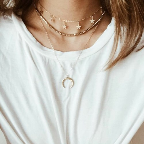 Women's Multi Layer Necklace Moon Star Shaped Trendy Elegant Infinite Charming Jewelry Metal Decoration Chain style: bamboo chainStyle: women's Basic