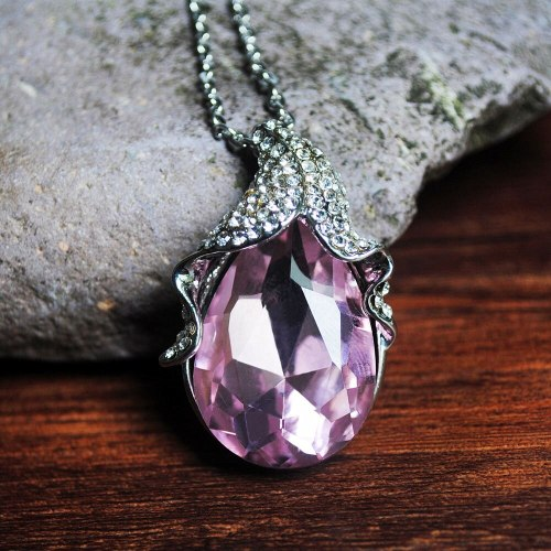 Women's Crystal Necklace Creative Exquisite Pendant Faddish Accessories Basic LadyColour Geometric Luxury Below 60cm Crystals