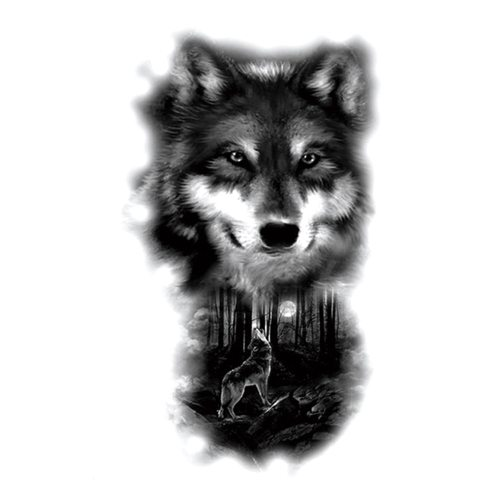 Men's Tattoo Fashion Simple Wolf Pattern Water Proof Animal Accessories Punk