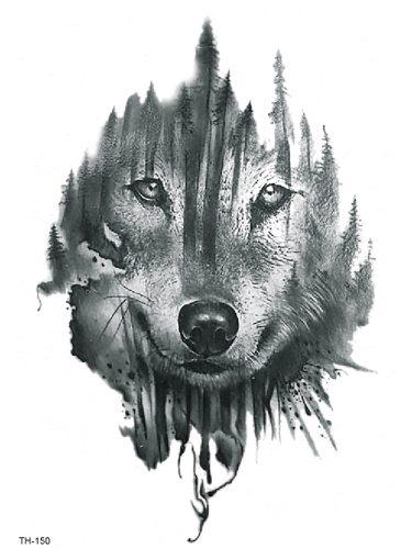 Men's Tattoo Sticker Cartoon Wolf Pattern Personalized Fashion Accessories