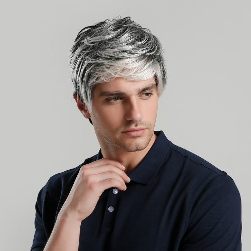 Men's Wig Short Curly Hair Gradient Color Wig Top Fashion Human Hair Hand wash Costume
