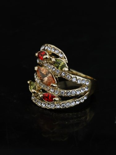 Women's Crystal Ring Colorful Zircon Decoration Fashion SILVERAGE None Accessory