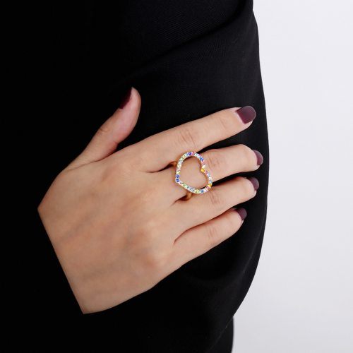 Women's Ring Heart Design Zircon Accessory Geometric Fashion Metal Decoration Pastoral